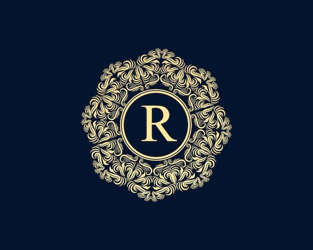 Logotipo antigo retro luxo vitoriano caligráfico com moldura ornamental
