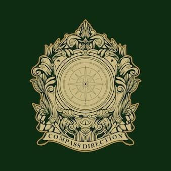 Logotipo antigo vintage de direção da bússola