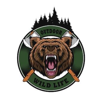 Logotipo ao ar livre com cabeça de urso
