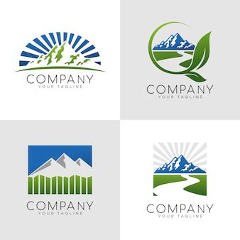 Logotipo ao ar livre da montanha