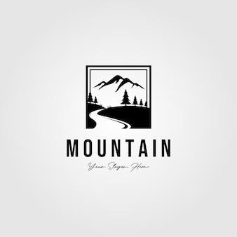 Logotipo ao ar livre montanha minimalista