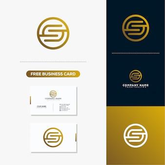 Logotipo arredondado letra s e modelo de vetor de cartão