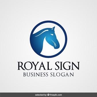 Logotipo azul com cabeça de cavalo