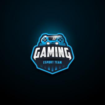 Logotipo azul da equipe de jogos e esporte