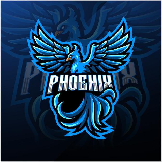 Logotipo azul da mascote esport phoenix