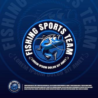 Logotipo azul de pesca