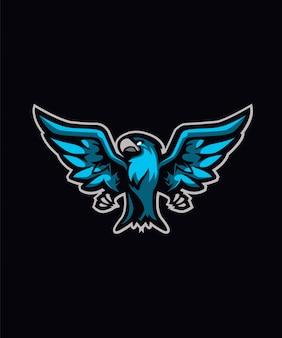Logotipo azul dos esportes do papagaio e