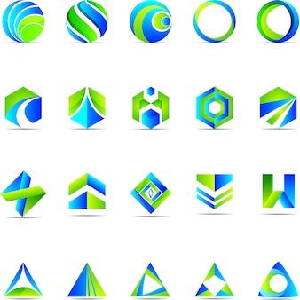 Logotipo azul e verde de negócios