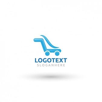Logotipo azul no carrinho de compras forma