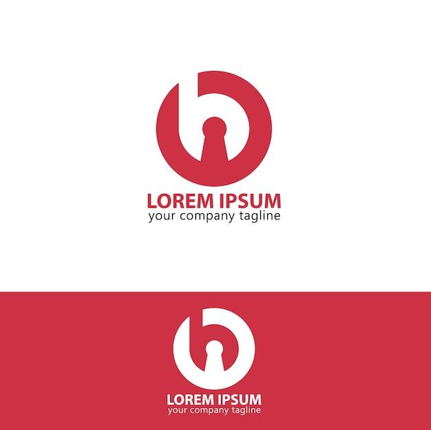Logotipo b círculo chave vermelho