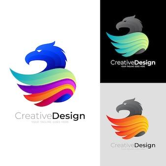Logotipo b com desenho de águia colorido, letra b e águia