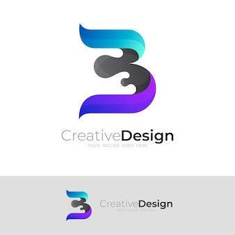 Logotipo b com design colorido 3d, ícones simples