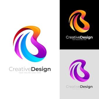 Logotipo b e modelo de design colorido