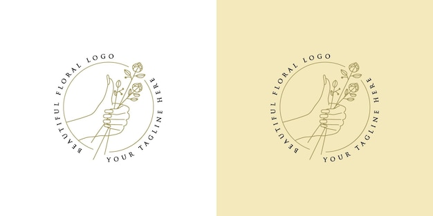 Logotipo boho da beleza com unhas femininas e vetor premium redondo de flores