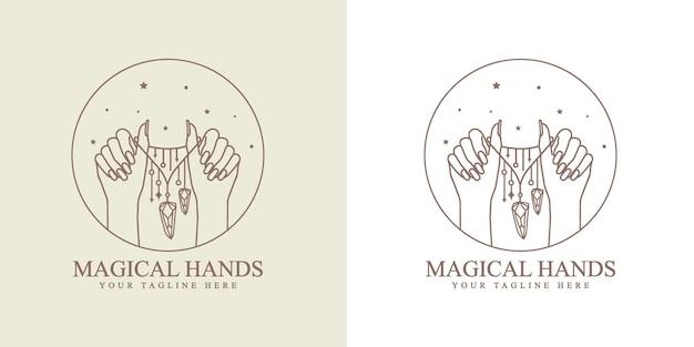 Logotipo boho de beleza feminina com colar de mão feminina, joias, unhas lua, coração, estrelas, cristal