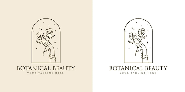 Logotipo boho de beleza feminina com estrela premium de unhas floridas de mão feminina