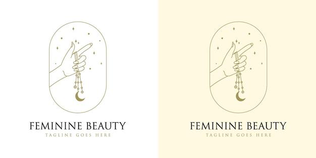 Logotipo boho de beleza feminina com mão de mulher unha lua e estrela para marcas de salão de maquiagem e spa