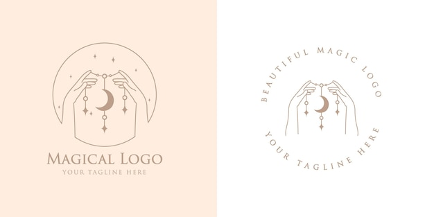 Logotipo boho de beleza feminina com mãos mágicas femininas estrela da lua unhas estrela do coração premium