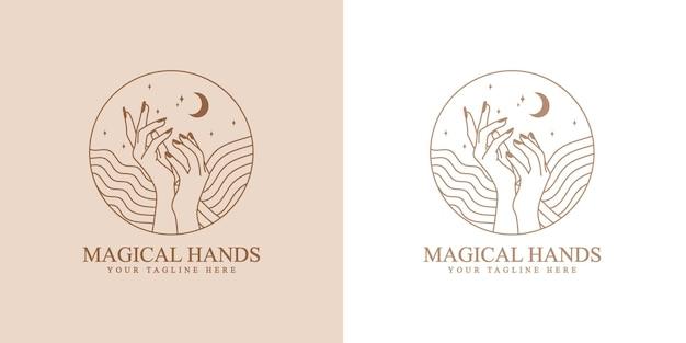 Logotipo boho de beleza feminina com ondas de mão femininas unhas estrela lua para marca de cuidados com a pele de beleza