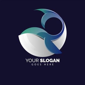 Logotipo bonito baleia plana