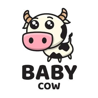 Logotipo bonito bebê vaca