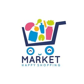 Logotipo bonito carrinho de compras