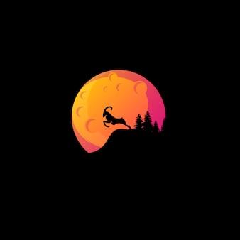 Logotipo bonito da cabra da lua