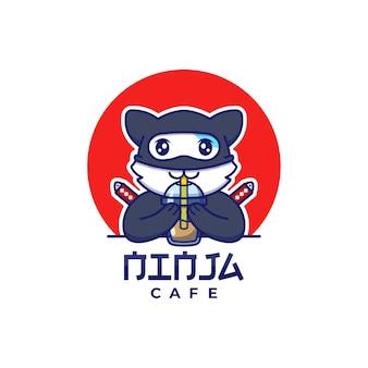 Logotipo bonito do gato ninja bebendo