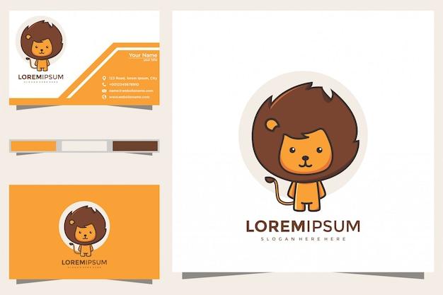 Logotipo bonito do leão e cartão de visita