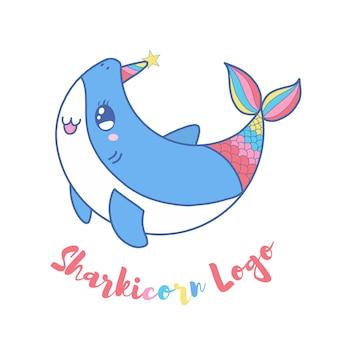 Logotipo bonito do unicórnio do tubarão para o miúdo