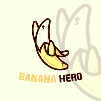 Logotipo bonito dos desenhos animados da banana com pose super hero Vetor Premium