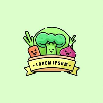 Logotipo bonito dos desenhos animados da fazenda orgânica