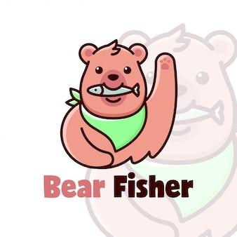 Logotipo bonito dos desenhos animados do urso marrom comendo um peixe