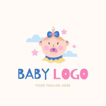 Logotipo bonito e detalhado de bebê