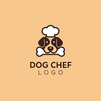 Logotipo bonito e simples do cozinheiro do conselheiro da comida de cão