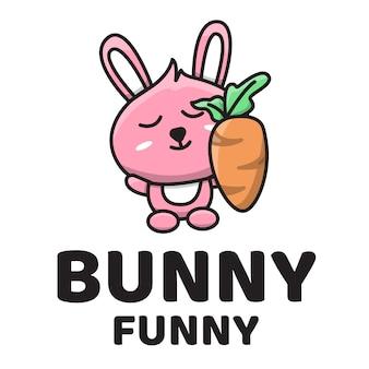 Logotipo bonito engraçado de coelho