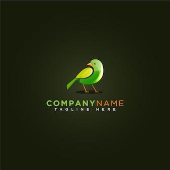 Logotipo bonito pássaro verde