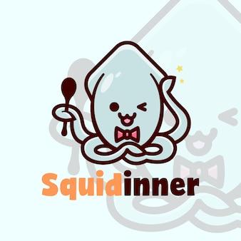 Logotipo bonito squid segurar uma colher e logotipo de desenhos animados sorridentes