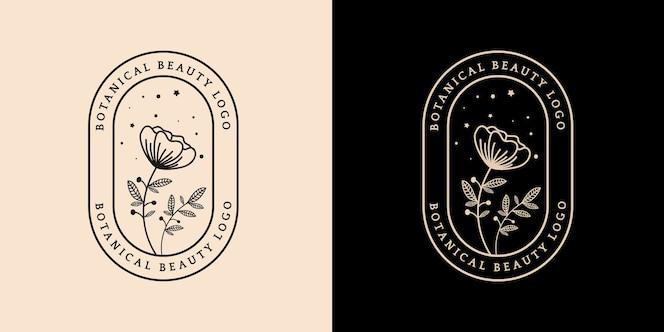 Logotipo botânico floral e feminino desenhado à mão, adequado para spa, pele, cabelo, beleza, boutique