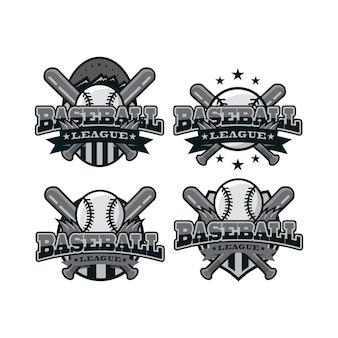 Logotipo branco preto de esporte de beisebol