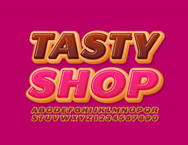 Logotipo brilhante do vetor loja saborosa. fonte de bolo de chocolate. letras e números do alfabeto sweet donut