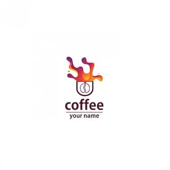 Logotipo café onda abstrato colorido