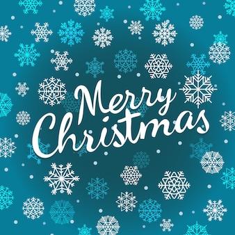 Logotipo caligráfico de feliz natal com flocos de neve. modelo de vetor para saudações de natal. maquete de cartão de projeto de letras caligráficas de texto vetorial