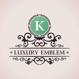 Logotipo caligráfico de luxo e monograma vintage k
