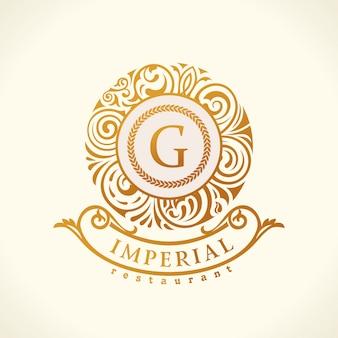 Logotipo caligráfico floral monograma barroco