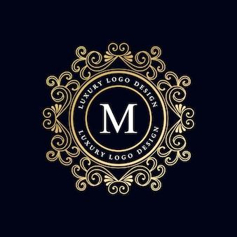 Logotipo caligráfico heráldico vitoriano de luxo retrô vintage antigo com moldura ornamental premium vector
