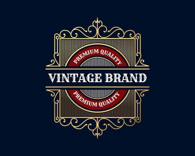 Logotipo caligráfico heráldico vitoriano de luxo retrô vintage antigo com moldura ornamental