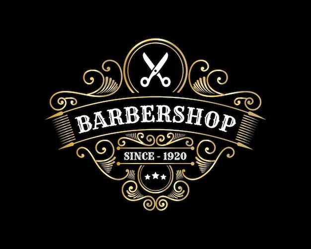 Logotipo caligráfico vitoriano brilhante de luxo real antigo com moldura ornamental para salão de cabeleireiro e spa de beleza