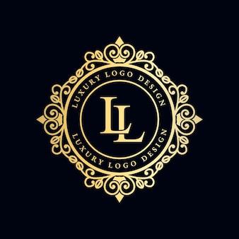 Logotipo caligráfico vitoriano de luxo real antigo com moldura ornamental.