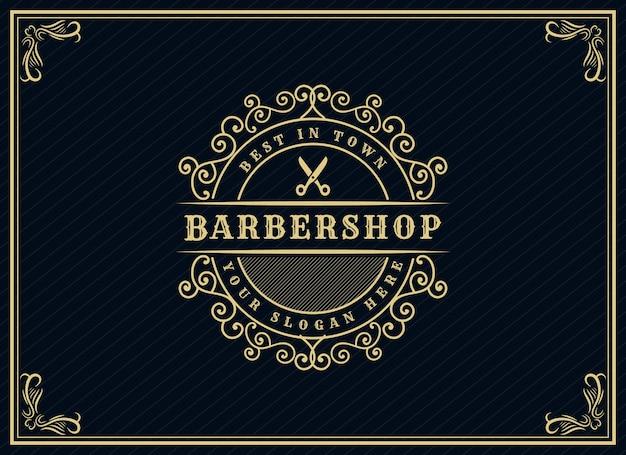 Logotipo caligráfico vitoriano de luxo retrô antigo com moldura ornamental adequada para barbeiro vinho carft loja de cerveja spa salão de beleza boutique restaurante antigo hotel resort clássico marca real